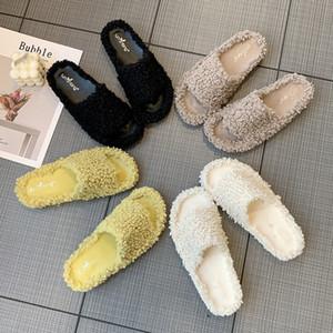 Online ünlü kuzu yün terlik düz tabanlı tek hat sonbahar ve kış kadınlar dış giyim moda ayakkabı