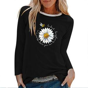 Daisy Dragonfly Be Kind Imprimer manches longues T-shirts Femme Automne Hiver Vêtements esthétiques Crew Neck Blanc Tops pour les femmes dames