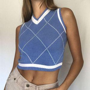Argyle Ekose Örme Triko Yelek Bayan Streetwear Preppy Stil Vintage Çizgili Elbise V Yaka kolsuz bluz Y2K Triko