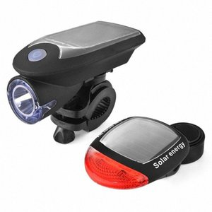 Solar Energy Rechargeable USB Bike Lights Flashing Front Head Cycling Bicycle LED Red Rear Tail Warning Lamp Lighting PcwN#