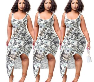 Designer Bodycon Dress Sexy Dollar Printed Scoop Neck Sleeveless Asymmetrical Dress Fashion Female Clothing Dropshipping Summer00