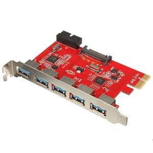 Cgjxshigh velocidad 5 puertos USB 0.0 3 Para Adaptador PCI -E Tarjeta PCI Express Converter 20 pines a USB 0.0 Dispositivos 3