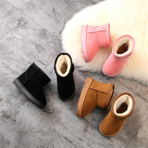 2020 winter new childrens shoes snow boots solid color classic boys and girls middle tube warm and cotton shoes