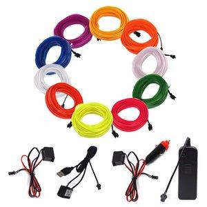 자동차 장식 조명 1m 2m 3m 5m 발광 EL 와이어 유연한 네온 빛 AA 배터리 USB 드라이브 Led 스트립 파티 신발 댄스 의류 자동차 장식