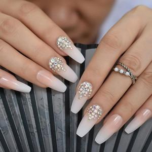 Pregos Falsos 3D Bling Glitter Ombre Natrual Nu Natural Bailarina Francesa Caixão Falso Extra Long Press no Dedo do Partido Wear 24pc