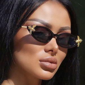 Cat eye sunglasses for women, brand designer Vintage Retro sunglasses, Metal sunglasses with bee ornament, female sunglasses