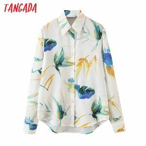 Tangada 2020 가을 여성 대형 꽃 무늬 블라우스 긴 5T1 femininas 세련된 여성 캐주얼 느슨한 셔츠 blusas 슬리브