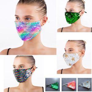 Мода Bling Bling Sequin Защитная маски пыл моющаяся ветрозащитная Многократная маска Упругая ушная Mouth маски DHL свободного корабль HH9-3102