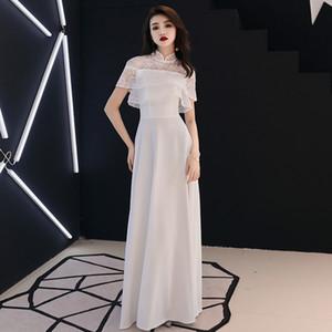 White Elegant Women Party Prom Dress Sexy Perspective Long Qipao A-line Slim Short Sleeve Cheongsam Vestidos Defesta