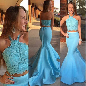 Elegant Blue Halter Two Pieces Prom Dresses Lace Backless Satin Mermaid Skirts Evening Gowns Girls Formal Pageant Dresses Customized L15