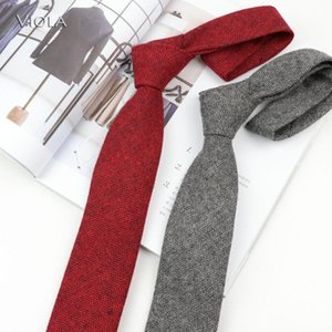 Solid 50% Wool Necktie 7cm Thick Classic Fashion Neck Tie Men Tuxedo Party Dinner Accessory Business Gift High Quality 14 Colors