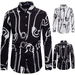 Shirts Casual Black and White Pin Pattern Printed Long Sleeve Shirts England Style Mens Dress Shirts Fashion Mens Designer
