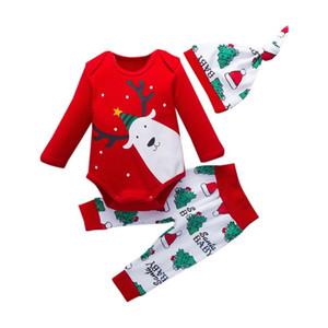 3шт Рождество Праздничные костюмы Нижнее 0-18M Новорожденных Baby Girl одежда Одежда Набор с длинным рукавом Футболка Ромпер Топы + брюки + шапки