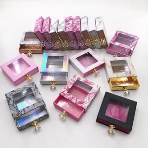 Nova caixa de embalagem de cílios Caixa de embalagem personalizada Caixa de chicote de cristal de cristal para 25mm natural 3D vison cílios postiços