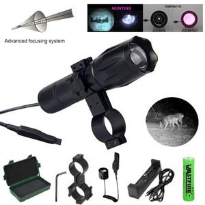 IR-A100 7W 940NM رؤية الليلية الصيد الأشعة تحت الحمراء IR زوومابلي ضوء + التبديل + بندقية نطاق جبل + 18650 + شاحن + حالة