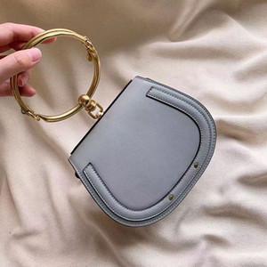Estate Nuovo della borsa dell'anello del metallo metallo sacchetto della maniglia del Nilo pacchetto sella Genuine Leather Bracciale Sacchetto femminile tracolla Messenger Crossbody Bags