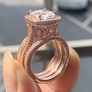 2020 New Arrival Stunning Luxury Jewelry 925 Sterling Silver&Rose Gold Full Cushion Shape White Topaz CZ Diamond 3PCS Women Wedding Ring