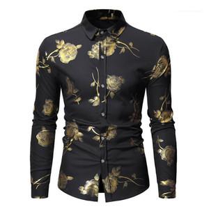 Simple boutonnage Hommes Chemises hommes Vêtements décontractés Golden Rose Print Designer Hommes Chemises Fashion Lapel Neck