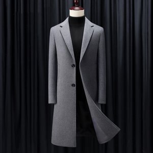 SHAN BAO cinza preto azul escuro de luxo de alta qualidade de inverno casaco de lã marca de espessura e negócios longo casaco fino cavalheiro dos homens quentes