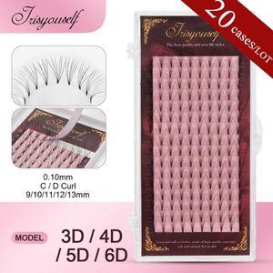 20cases 16lines 3D 4D 5D 6D False Lashes Premade Russian Volume Fans Faux Mink Premade Fan Eyelash Extensions Cilio short root