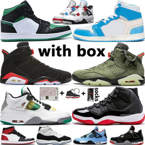 Nike Air Jordan 1 Retro With Box Jumpman 1s Basketball Shoes 4 4s Travis Scotts 6 6s Concord 45 Bred 11 11s Men Women Sneakers Size 13