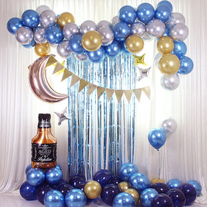 87pcs 10 12 28 inches Blue balloon set flag whisky balloon chain set party decoration venue layout props