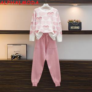 ALPHALMODA 2020 Trendy Liebe-Herz-wulstige süße langärmelige Pullover + Hosen-Frauen Art und Weise 2pcs Klage Rosa Blau Hit Color Sets