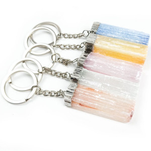 Wholesale 10 pcs Silver Plated Circle Irregular Shape Many Colors Gypsum Key Chain for Party Gift Jewelry