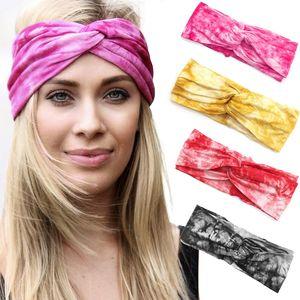 13 Colors Fashion Women Tie Dyed Headbands Outdoor Sports Yoga Cross Hairbands Girls Elastic Turban Headwrap Hair Accessories M2788
