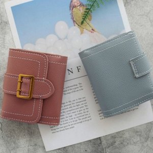 Womens Wallet Purse Car Sewing Thread Simple Buckle 3 Fold Fashion Small Wallet PU Hasp Lady Photo Holder Note Compartment 5Qkw#