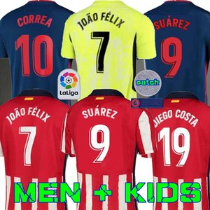 20 21 Atlético de Madrid Futebol Jerseys JOAO FELIX 2020 2021 SAUL Camisetas de fútbol Suarez Mens Kit Jersey Crianças DIEGO COSTA Football Shirt