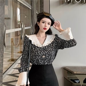 GIyr7 Western Lady Fox floral flounced women's early spring long style loose QAyHc Doll Doll shirt sleeve shirt