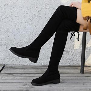 Plus Size 35-41 Winter-Overknee-Stiefel Frauen Stretchstof Oberschenkel hohe Sexy Frauen-Schuhe Lange
