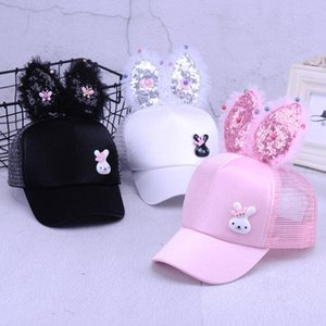 Cute Baby Hat Spring Summer Baby Girl Baseball Cap Glitter Sequin Rabbit Ear Pearl Kids Hat Girls Sun Hats for Children