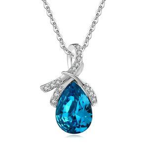 925 Couleur argent sterling collier de diamants pour les femmes court Clavicule chaîne Choker Penadant larmes des anges Saphire Bijoux Pierre