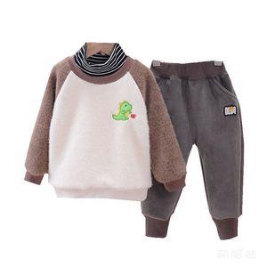 Spring Autumn Kids Cartoon Thicken Casual Clothes Boy Baby Girl Fashion T Shirt Pants 2Pcs Sets Children Cotton Letter Tracksuit X0923