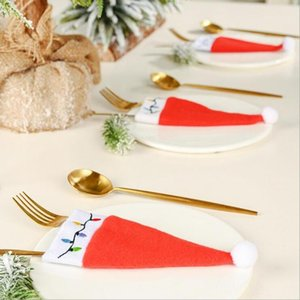 10PC New Christmas Knif Cover Ornament Knife Table Decoration And Tool1 Fork Kitchen Tableware Small Christmas Hat Storage Cover Oavfq