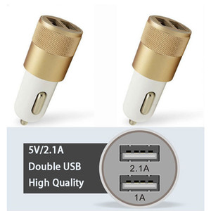 Dual USB Car Kit Charger Aluminium Alloy Adapter 2.1A Auto Vehicle Metal Charger Fast Usb Car Charger For Cell Phone