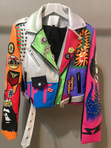 2020 Leather Jacket Women Graffiti Colorful Print rivet Biker Jackets and Coats PUNK Streetwear Ladies Short Jacekt Outerwear clothes w897
