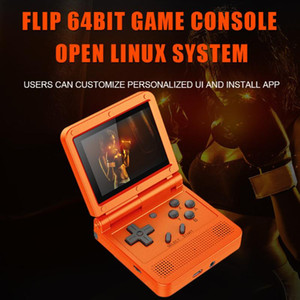 Powkiddy V90 Retro Game Console Flip Linux System Handheld Game Console with16G Built in 2000 Games For PS1 N