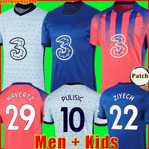 첼시 CFC KANTE ABRAHAM MOUNT LAMPARD ODOI JORGINHO PULISIC 축구 유니폼 2020 2021 GIROUD ZIYECH HAVERTZ 축구 셔츠 20 21 남자 + 키즈 키트