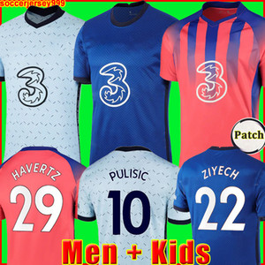 Chelsea CFC PULISIC ZIYECH HAVERTZ KANTE WERNER ABRAHAM CHILWELL MOUNT JORGINHO قميص كرة القدم 2020 2021 GIROUD قميص كرة القدم 20 21 رجال + طقم أطفال