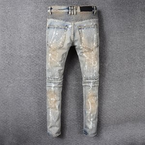 Men jeans The New Distressed Ink and wash Straight leg pants Paste wash Grind patch Hole Slim trousers Europe and America