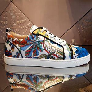 Chaussures de sport 20S en cuir véritable pour les hommes, Bas-Rouge Baskets basses Fleur Patterns Street Style Party Baskets femme Robe cadeau ETUI