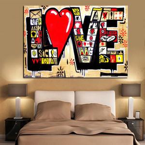 Sanat Duvar Resimleri İçin Salon Cuadros Dekor Boyama Poster HD Baskı Street Art Graffiti 3D Kırmızı AŞK MODERN Özet Tuval