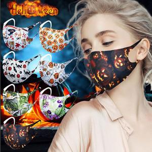 할로윈 크리스마스 3D는 입 커버 PM2.5 호흡 항균 세척 재사용 아이스 실크 코튼 마스크 마스크 패션 얼굴을 인쇄