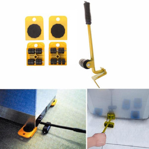 Dropshipping for 4 Mover Roller+1 Wheel Bar Furniture Transport Lifter Hand Tool Set