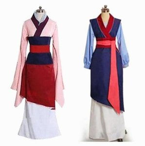 Princess hua mulan adult costume Dress pink Blue Dress Movie Cosplay girl adults children halloween costumes for women plus size