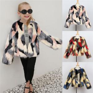 Ins Yeni Çocuk Kız Kürk Ceket Renkli Şık Modası Küçük Kızlar Açık Çocuk Giyim Ceket Ceket Dış Giyim 1-7Years
