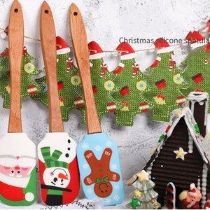 크리스마스 케이크 주걱 스크레이퍼 실리콘 크림 버터 혼합 타자 스크레이퍼 브러쉬 버터 믹서 케이크 브러쉬 베이킹 케이크 도구 T2I51436